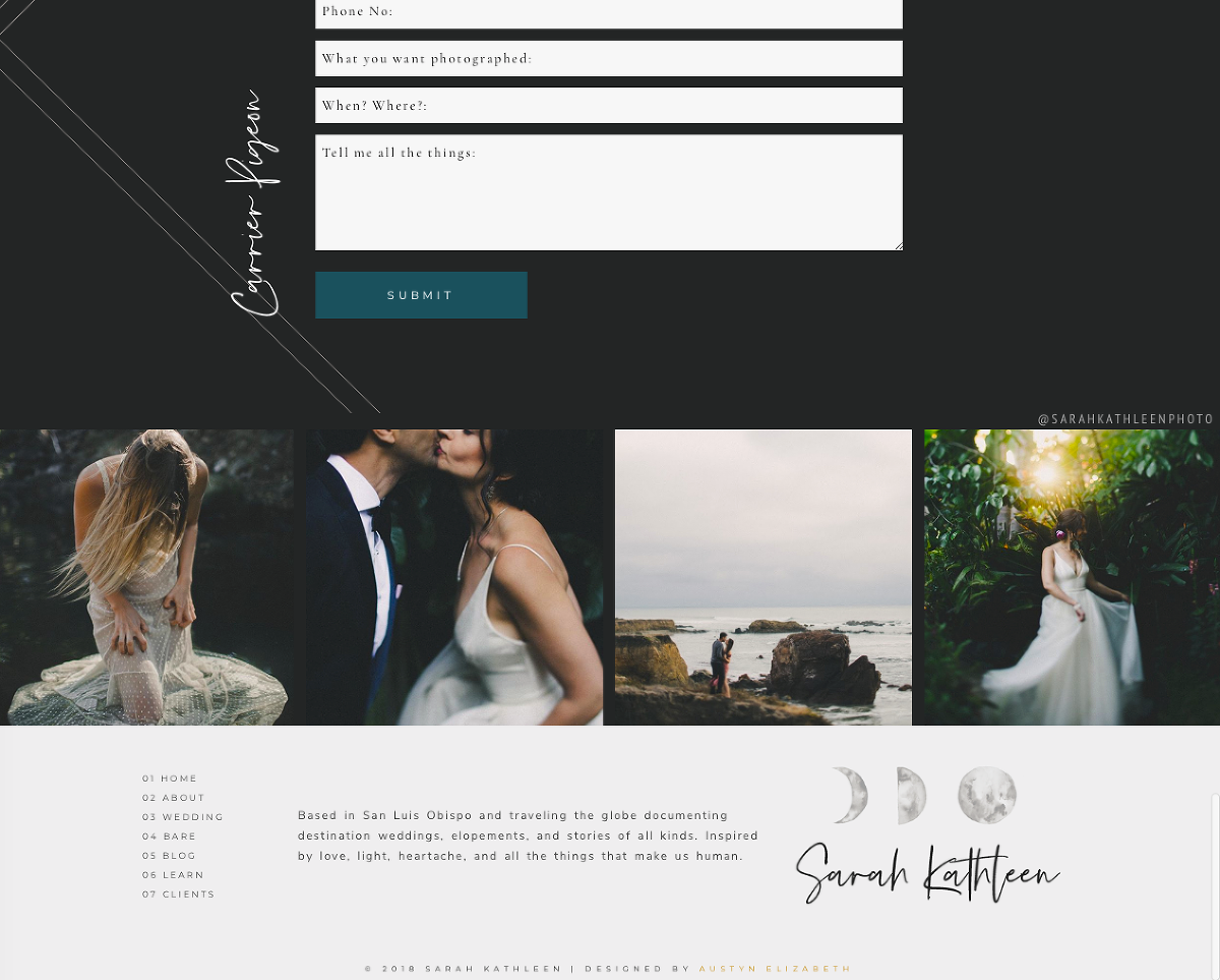 San Luis Obispo Website Specalists Austyn + Brian design a dark and moody wedding photography website for Sarah Kathleen Photography